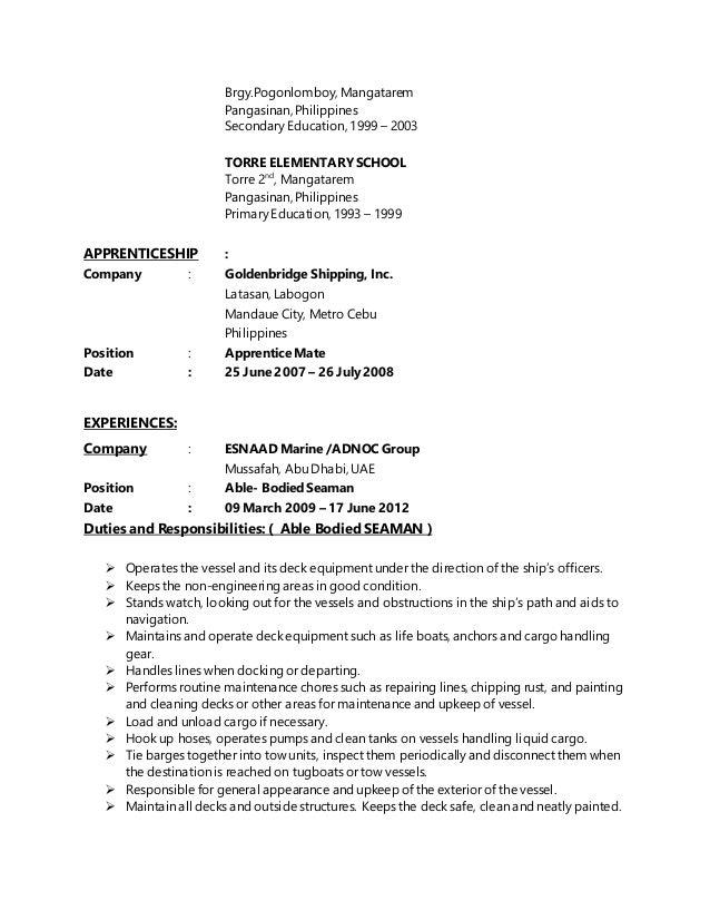 merchant marine engineer cover letter ammunition specialist sample - Merchant Marine Engineer Sample Resume