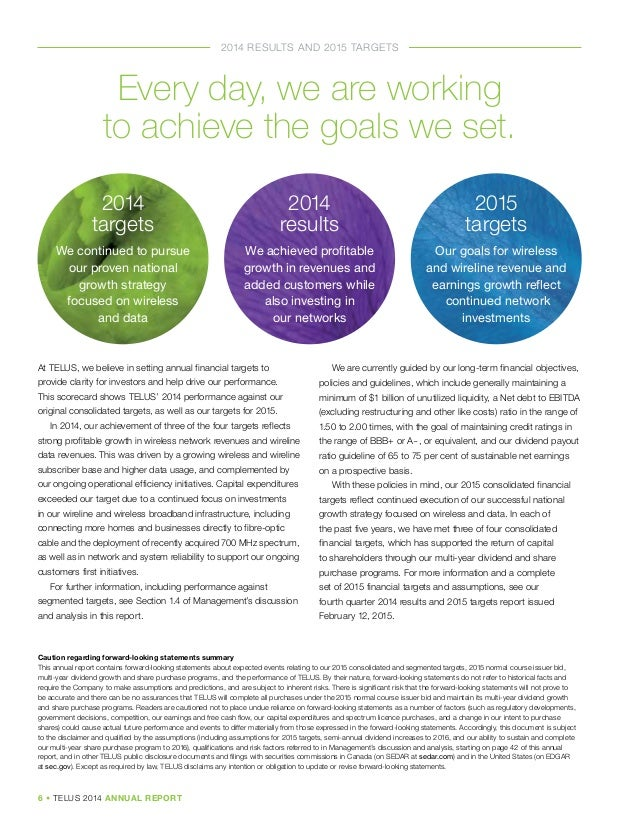 telus annual report analysis Referred to in the management's discussion and analysis starting on page 12 of the telus 2007 annual report - financial review all financial information is reported in canadian dollars unless.