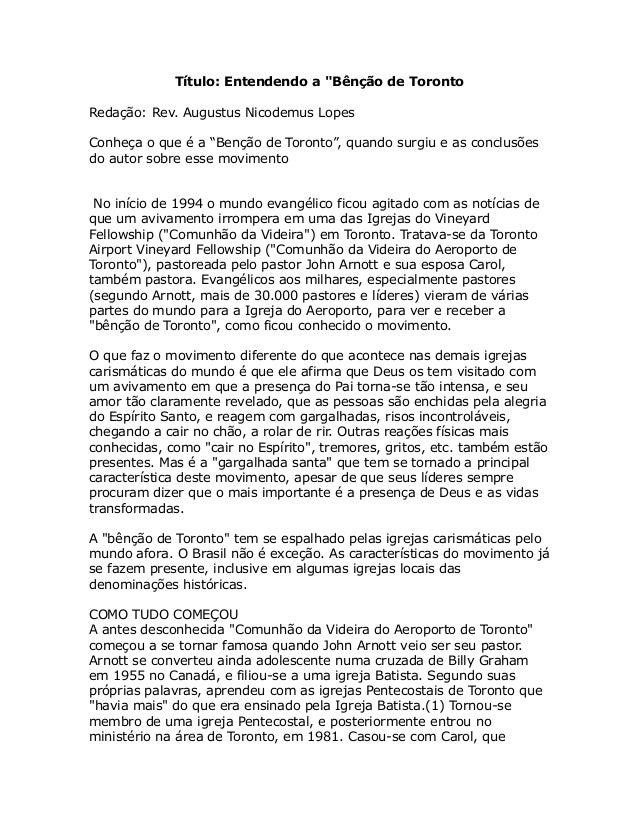 """Título: Entendendo a """"Bênção de Toronto Redação: Rev. Augustus Nicodemus Lopes Conheça o que é a """"Benção de Toronto"""", quan..."""