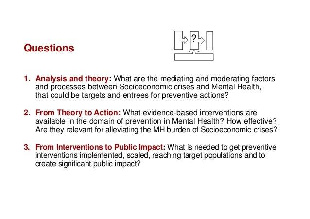 Socioeconomic Crisis and Mental Health Hosman Prevention Options Slide 2
