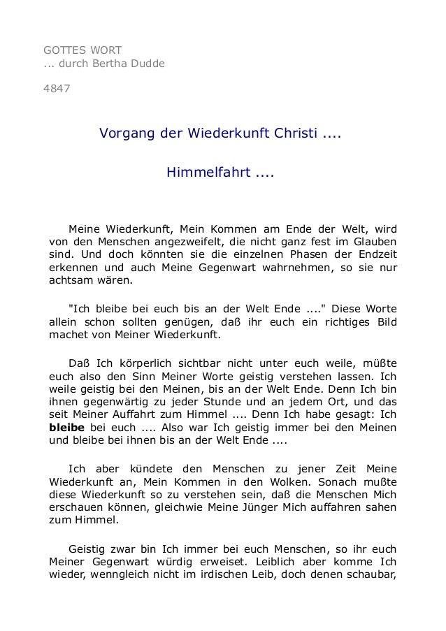 GOTTES WORT ... durch Bertha Dudde 4847 Vorgang der Wiederkunft Christi .... Himmelfahrt .... Meine Wiederkunft, Mein Komm...