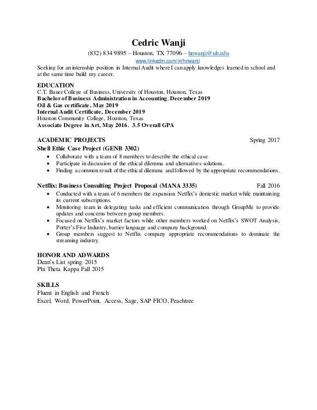 C.T. Bauer Resume