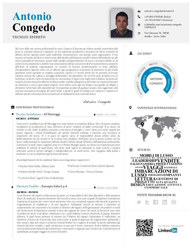 Antonio antonio.congedo@hotmail.it MOBILI DI LUSSOT E C N O L O G I A D I I N S T A L L A Z I O N E LEADERSHIPVENDITE FALE...