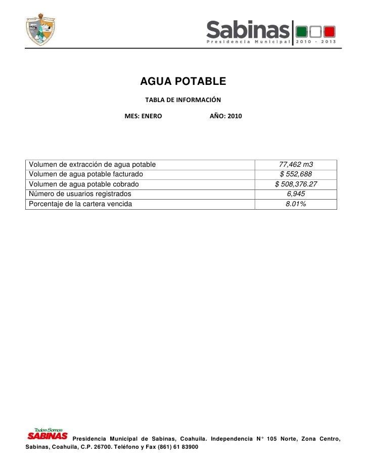AGUA POTABLE                                      TABLA DE INFORMACIÓN                                 MES: ENERO         ...