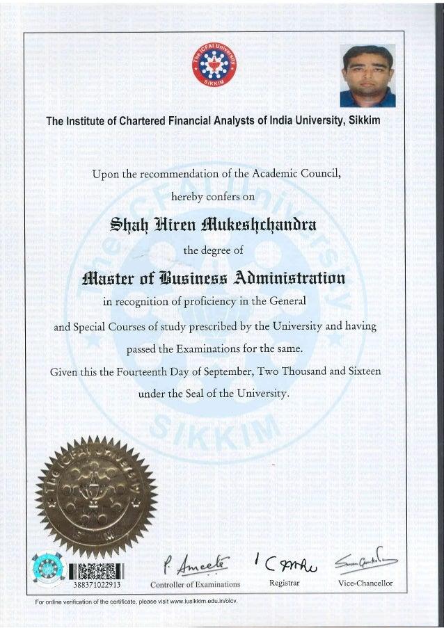 Hiren Icfai Mba Sem 4 Certificate Of Master Of Business Administrati