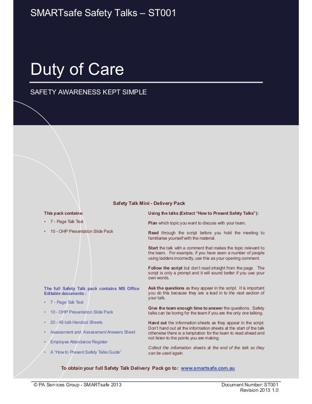 Duty of Care Page 1 of 12 © PA Services Group - SMARTsafe 2013 Document Number: ST001 Revision 2013 1.0 Duty of Care SAFET...