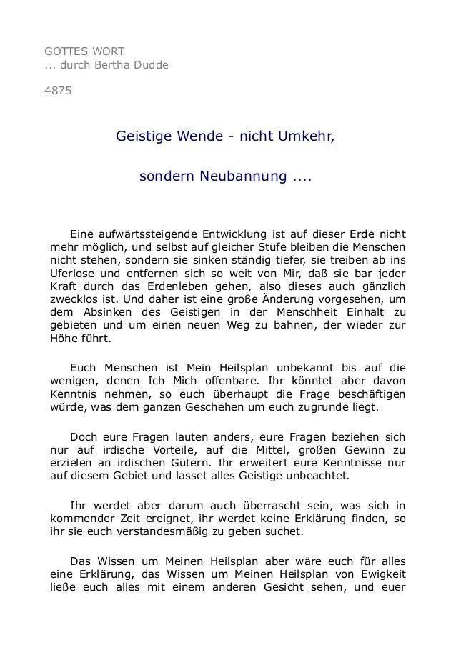 GOTTES WORT ... durch Bertha Dudde 4875 Geistige Wende - nicht Umkehr, sondern Neubannung .... Eine aufwärtssteigende Entw...