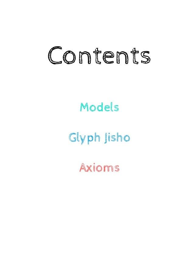 Contents  Models  Glyph Jisho  Axioms