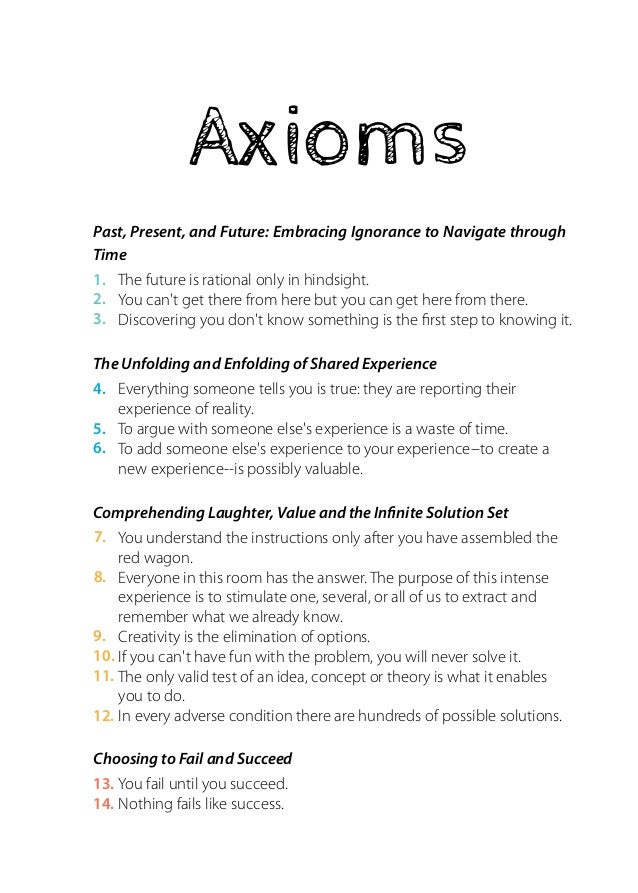 Axioms  Past, Present, and Future: Embracing Ignorance to Navigate through  Time  The future is rational only in hindsight...