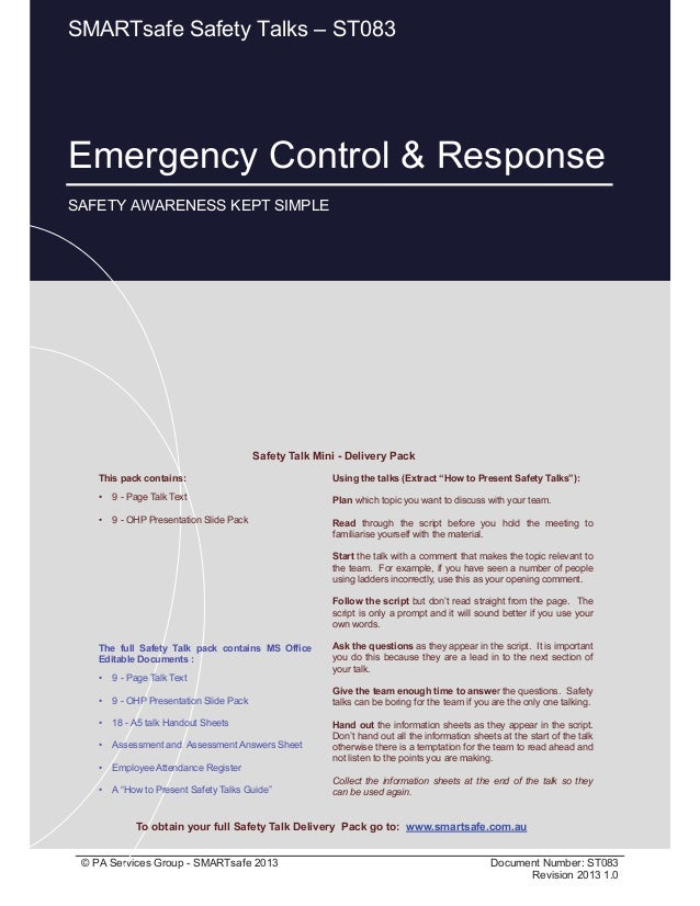 Emergency Control & Response Page 1 of 12 © PA Services Group - SMARTsafe 2013 Document Number: ST083 Revision 2013 1.0 Th...