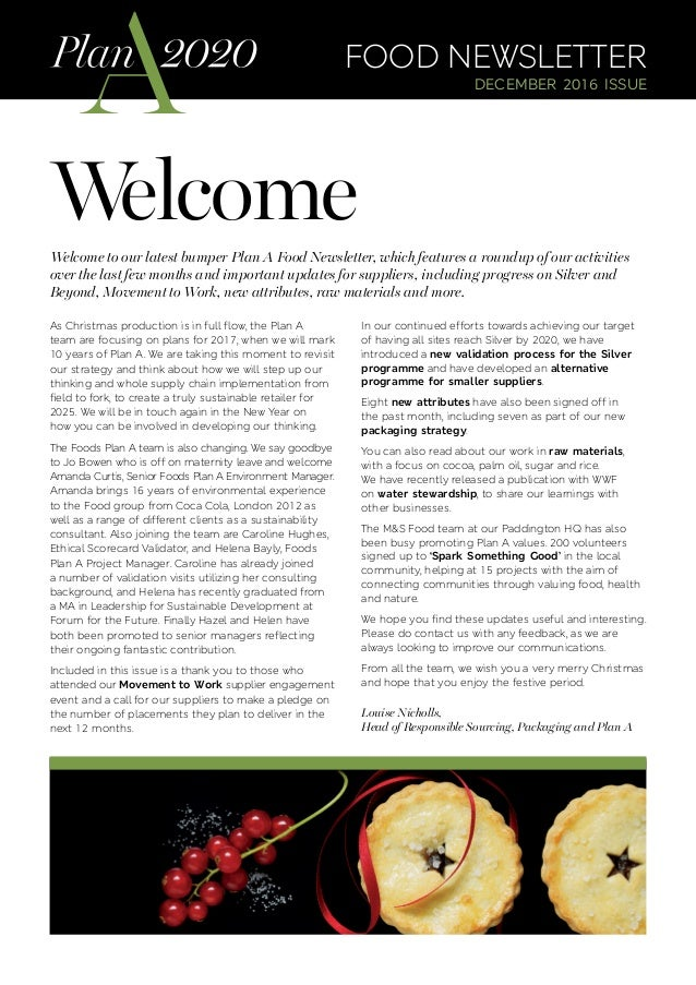 Welcome food newsletter december 2016 issue Welcome to our latest bumper Plan A Food Newsletter, which features a roundup ...
