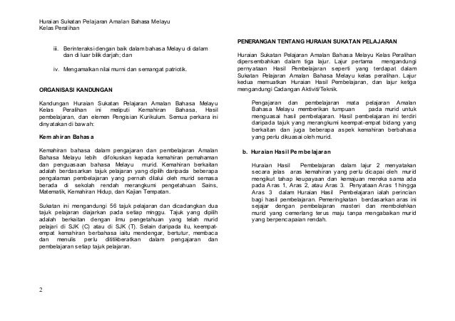 Huraian Sukatan Pelajaran Amalan Bahasa MelayuKelas Peralihan                                                             ...