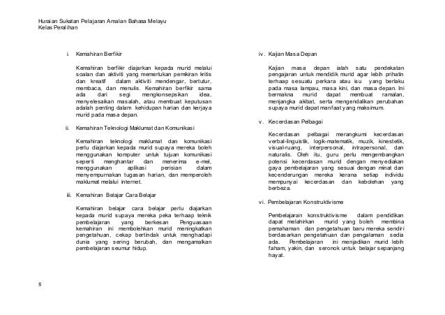 Huraian Sukatan Pelajaran Amalan Bahasa MelayuKelas Peralihan          i.   Kemahiran Berfikir                            ...