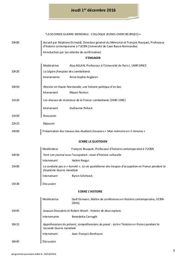 Programme Mémoriales 2016 Slide 3
