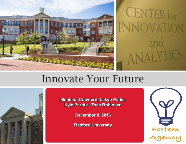 Innovate Your Future Montana Crawford, Lakyn Parks, Kyle Perdue, Thea Robinson December 8, 2016 Radford University