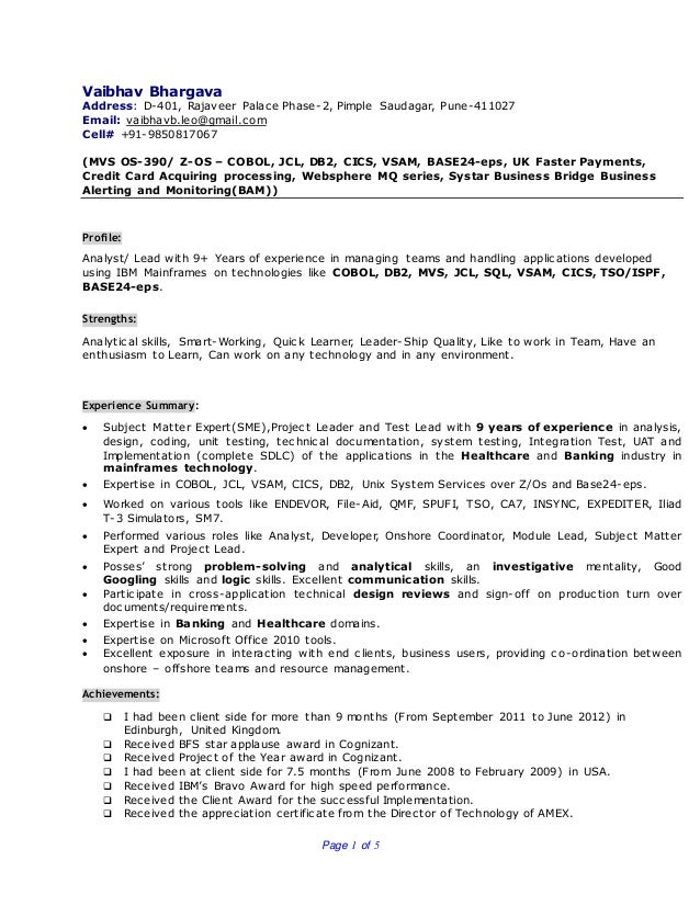 Page 1 of 5 Vaibhav Bhargava Address: D-401, Rajaveer Palace Phase-2, Pimple Saudagar, Pune-411027 Email: vaibhavb.leo@gma...