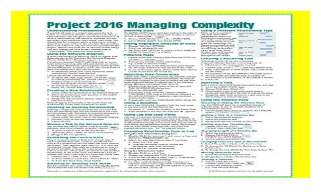 Microsoft Project 2016 Quick Reference Guide Managing