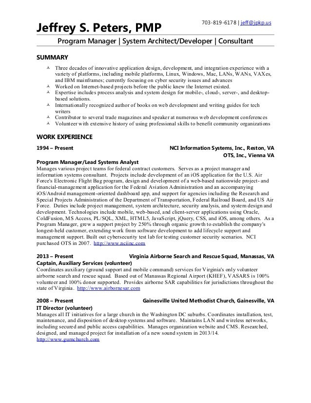 System Architect Resume Jeffrey S Peters 2015 03 24