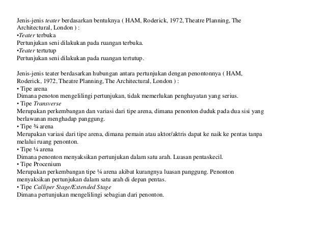 Jenis-jenis teater berdasarkan bentuknya ( HAM, Roderick, 1972, Theatre Planning, The Architectural, London ) : •Teater te...