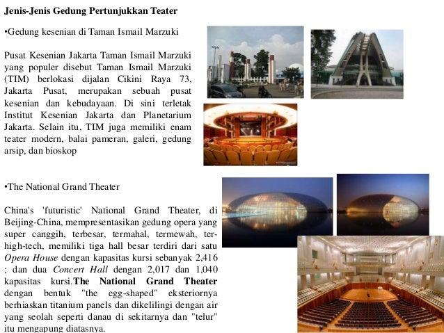 Jenis-Jenis Gedung Pertunjukkan Teater •Gedung kesenian di Taman Ismail Marzuki Pusat Kesenian Jakarta Taman Ismail Marzuk...