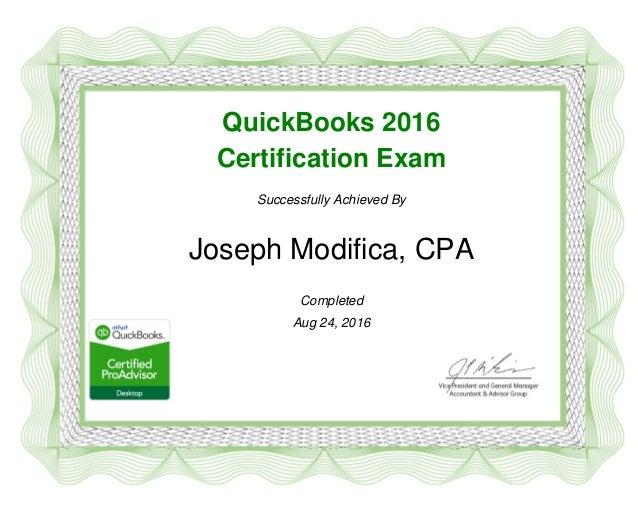 Joseph Modifica CPA Quickbooks Desktop 2016 Certification Certificate…