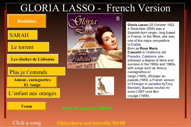 GLORIA LASSO - French Version    Bambino                                                          Gloria Lasso (25 October...