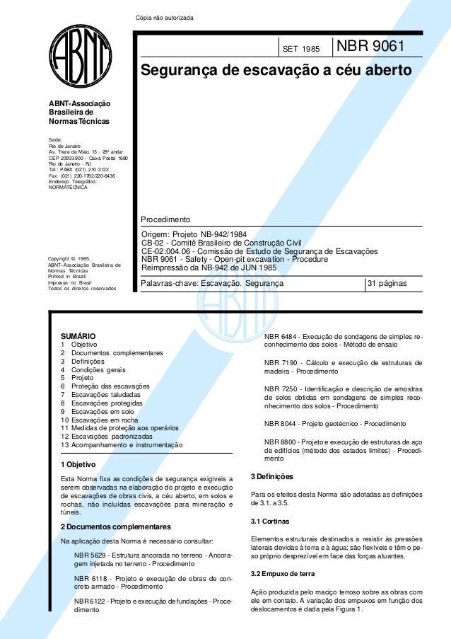 Copyright © 1985,ABNT–Associação Brasileira deNormas TécnicasPrinted in Brazil/Impresso no BrasilTodos os direitos reserva...