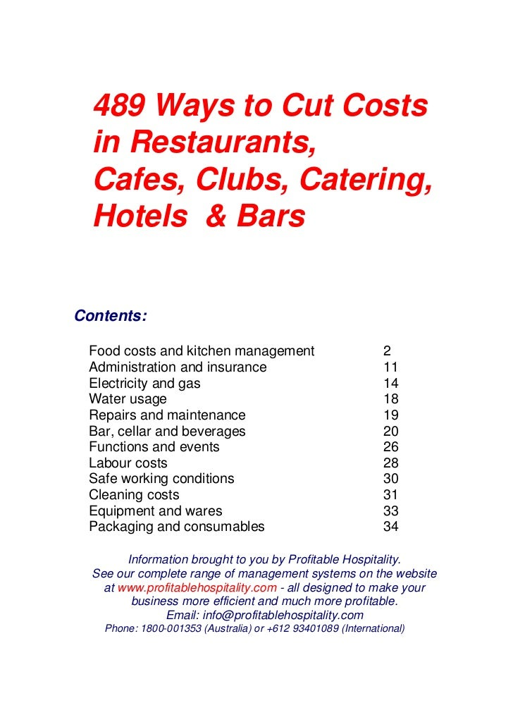 489 Ways to Cut Costs  in Restaurants,  Cafes, Clubs, Catering,  Hotels & BarsContents: Food costs and kitchen management ...
