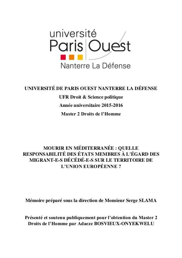 UNIVERSITÉ DE PARIS OUEST NANTERRE LA DÉFENSE UFR Droit & Science politique Année universitaire 2015-2016 Master 2 Droits ...