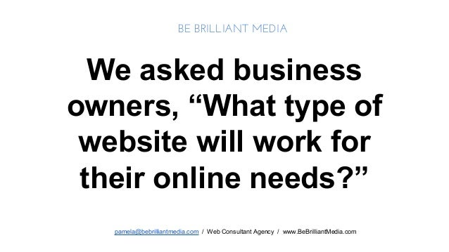 """BE BRILLIANT MEDIA  We asked business owners, """"What type of website will work for their online needs?"""" pamela@bebrilliantm..."""