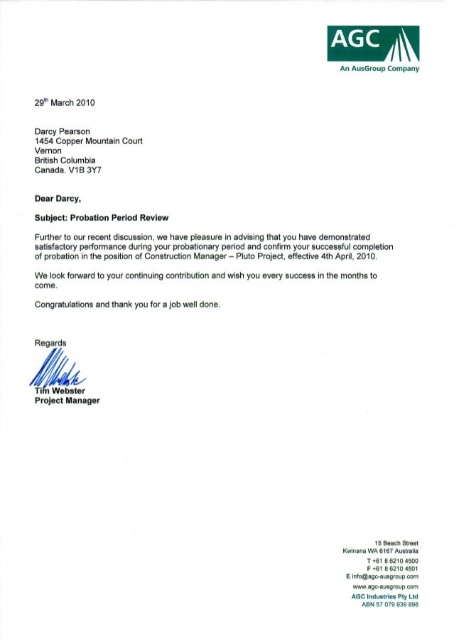 Sample Termination Letter during Probationary Period