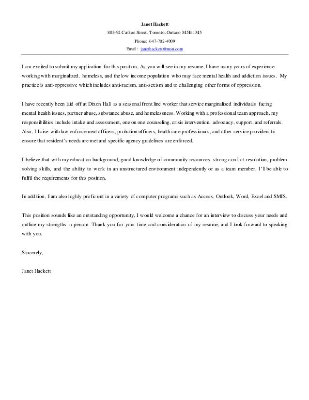 Janet Hackett Resume & Cover letter