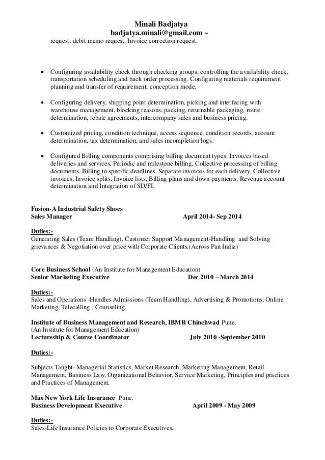 Minali Sap Sd Resume
