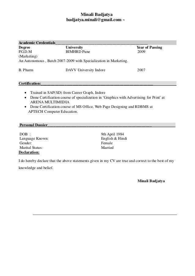 minali sap sd resume 1