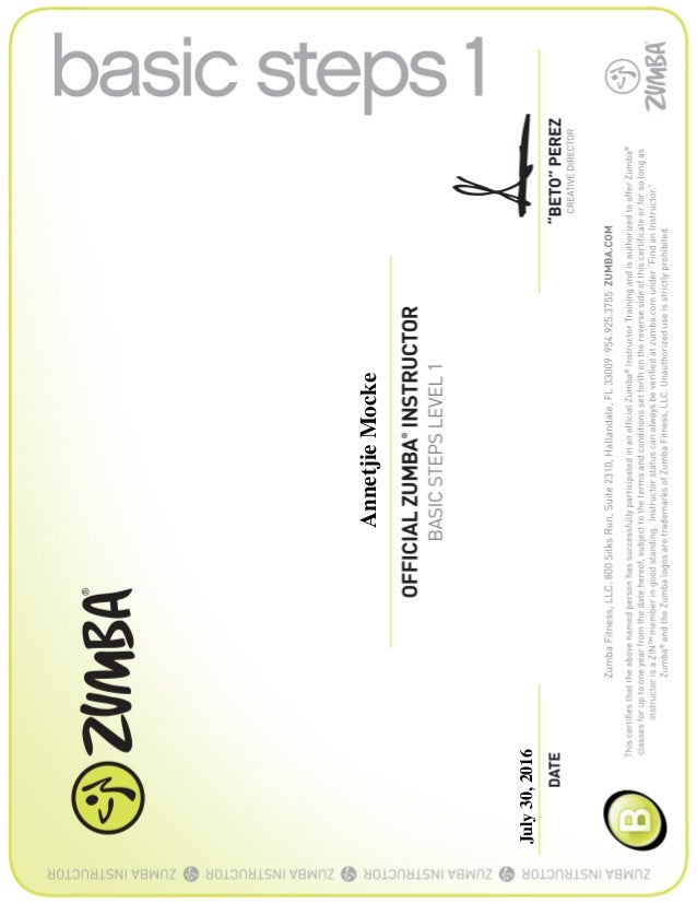 Zumba Certificate