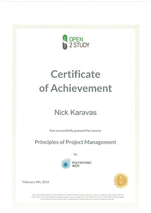 Certificate Of Achievement For Principals Of Project Management