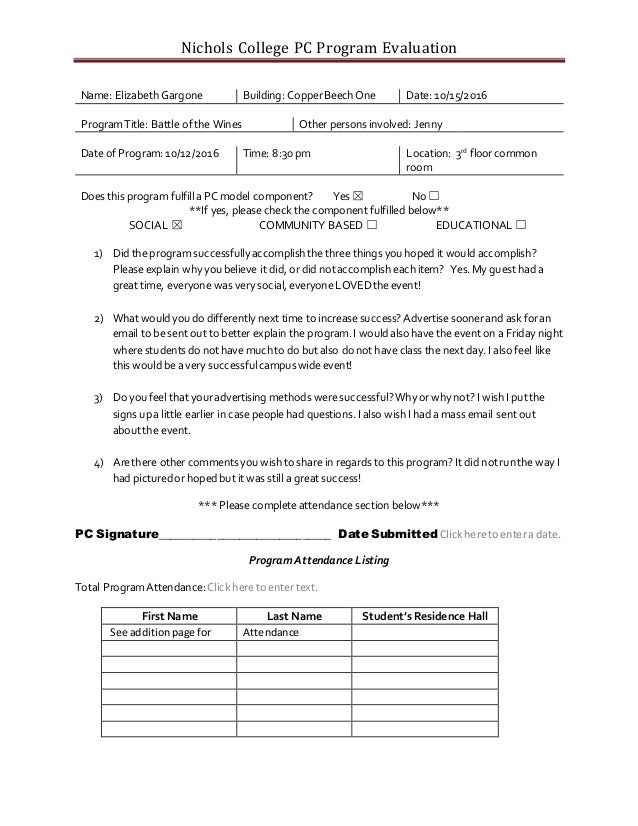 Pc Program Evaluation Form Battle Of The Wines