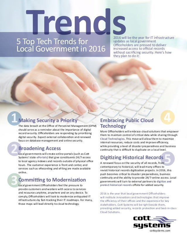 1 2 3 4 5 cottsystems.com 2016 will be the year for IT infrastructure updates as local government Officeholders are presse...