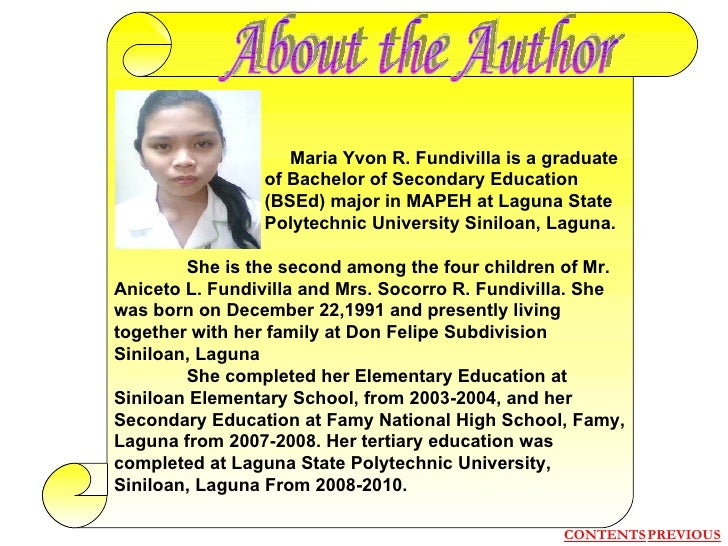 Maria Yvon R. Fundivilla is a graduate   of Bachelor of Secondary Education   (BSEd) major in MAPEH at Laguna State   Po...