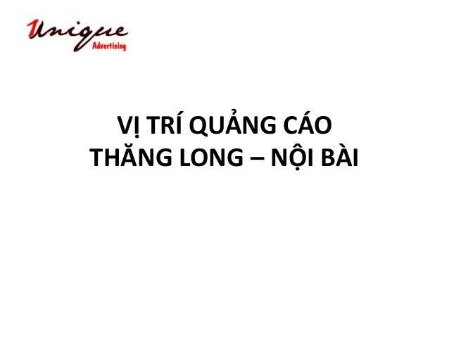 VỊ TRÍ QUẢNG CÁO THĂNG LONG – NỘI BÀI