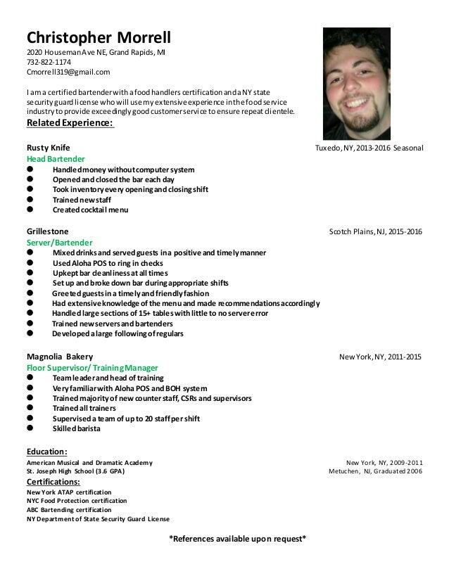 Christopher Morrell 2020 HousemanAve NE,Grand Rapids,MI 732-822-1174 Cmorrell319@gmail.com I am a certifiedbartenderwithaf...