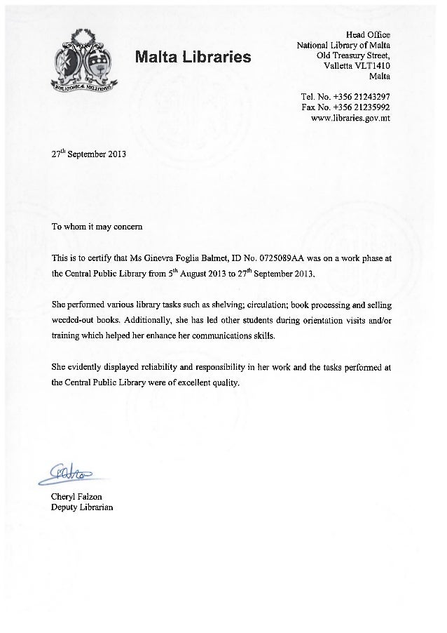 public library reference letter