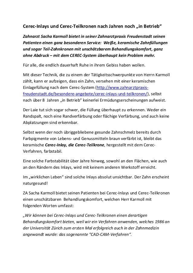 """Cerec-Inlays und Cerec-Teilkronen nach Jahren noch """"in Betrieb"""" Zahnarzt Sacha Karmoll bietet in seiner Zahnarztpraxis Fre..."""
