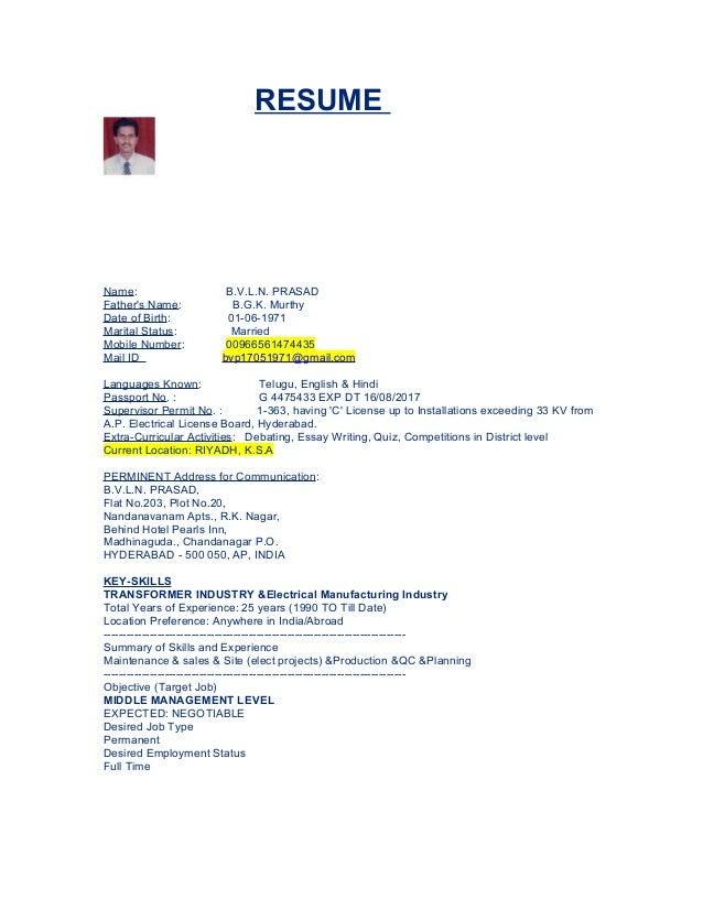Prasad Resume