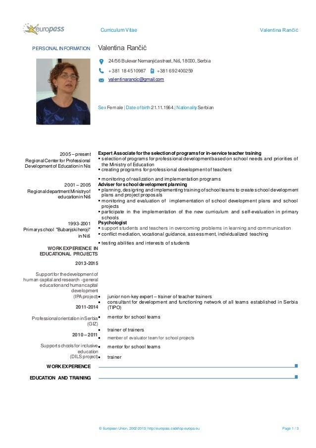 Curriculum Vitae Valentina Rančić © European Union, 2002-2013| http://europass.cedefop.europa.eu Page 1 / 3 PERSONAL INFOR...