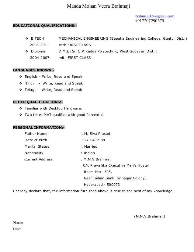 Manda Mohan Veera Brahmaji brahmaji009@gmail.com +917207290379 EDUCATIONAL QUALIFICATIONS:-  B.TECH MECHANICAL ENGINEERIN...