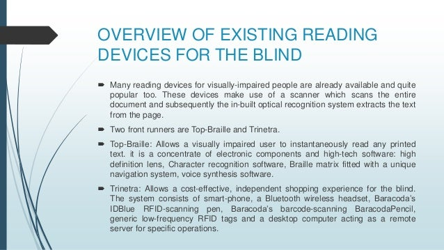 a look at assistive technologies for the blind