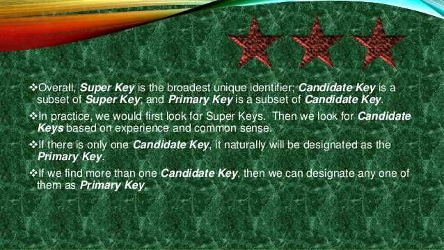 Overall, Super Key is the broadest unique identifier; Candidate Key is a subset of Super Key; and Primary Key is a subset...