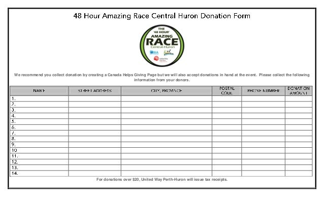 48 hour amazing race central huron donation form