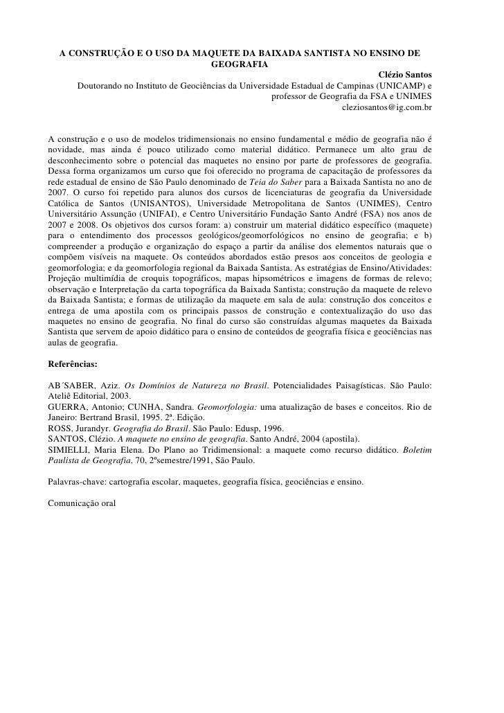 A CONSTRUÇÃO E O USO DA MAQUETE DA BAIXADA SANTISTA NO ENSINO DE                                         GEOGRAFIA        ...